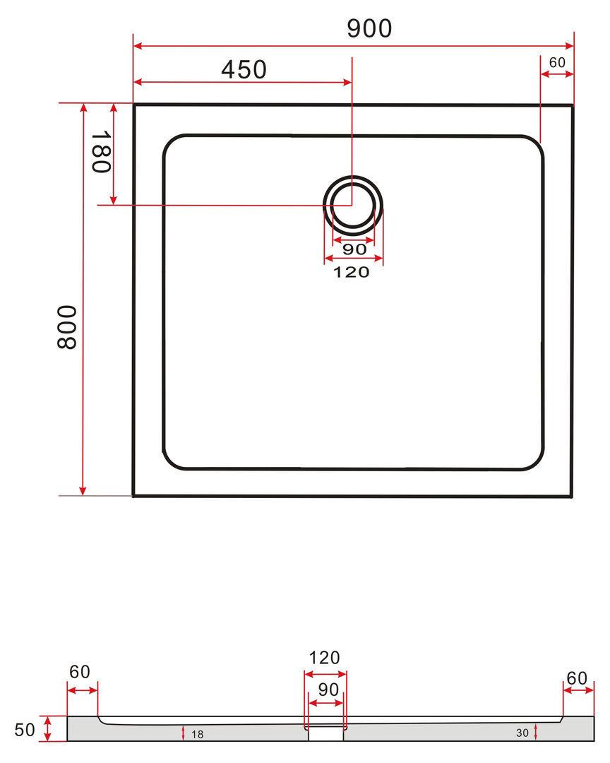50 mm Duschtasse 80 x 90 cm