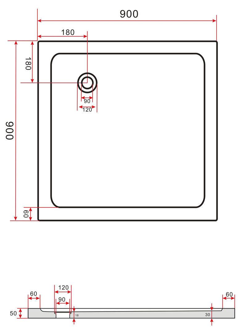 Duschkabine CLAP 90 x 90 x 185 cm inkl. Duschtasse
