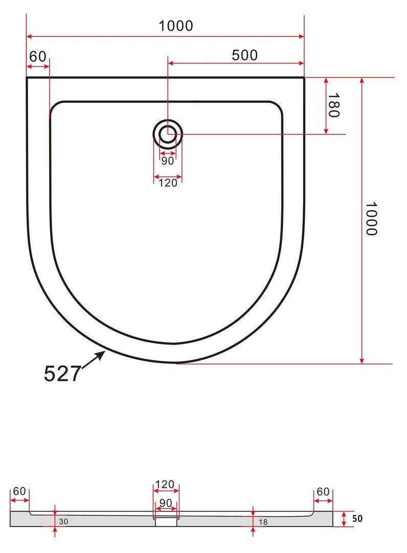 50 mm duschtasse f r u duschen 100 x 100 schwarz glasdeals. Black Bedroom Furniture Sets. Home Design Ideas