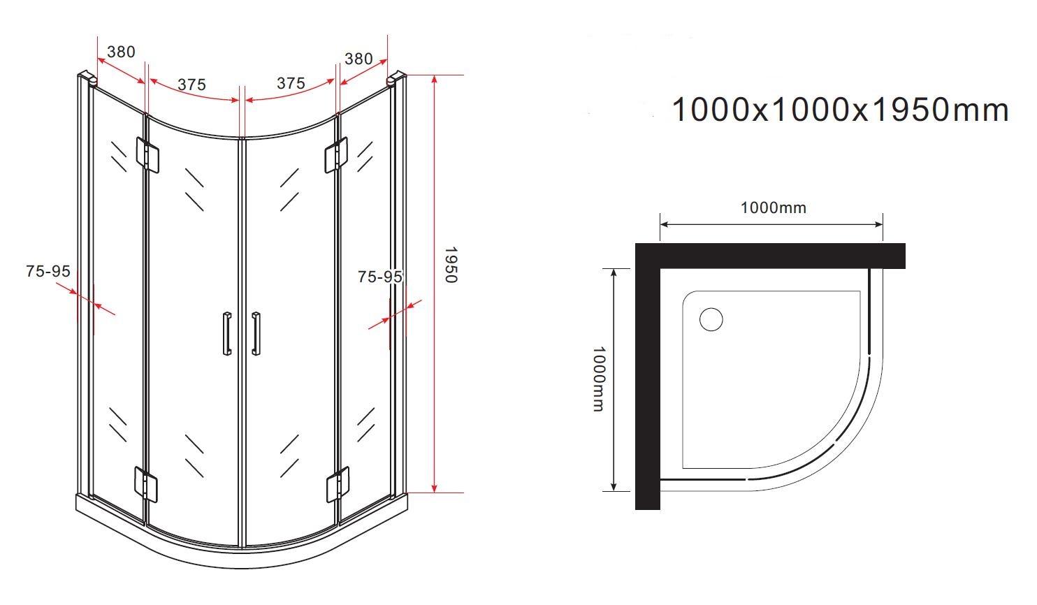 faltbare duschkabine foldo 100 x 100 x 200 cm inkl duschtasse glasdeals. Black Bedroom Furniture Sets. Home Design Ideas