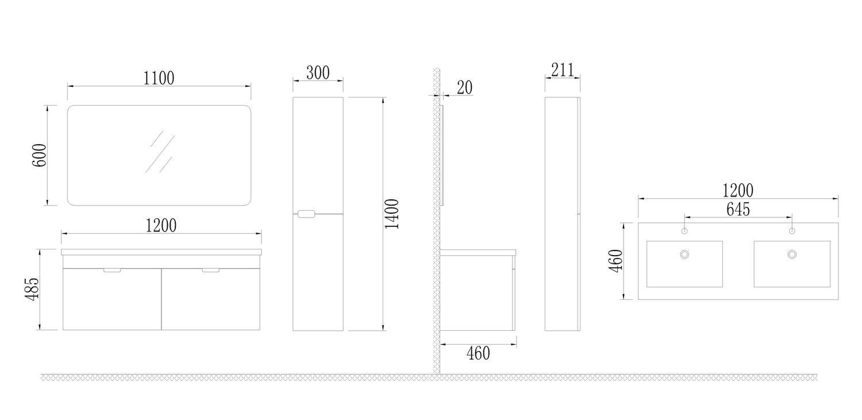 Badmöbel-Set GLOSSO 120 (hochglanz-weiß)