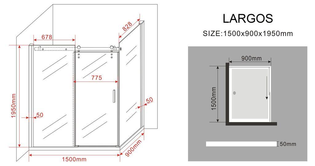 duschkabine largos 150 x 90 x 195 cm ohne duschtasse glasdeals. Black Bedroom Furniture Sets. Home Design Ideas