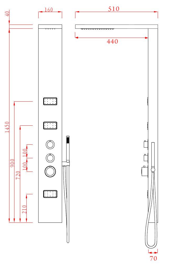 LED Designer Duschpaneel Luxo-LP081