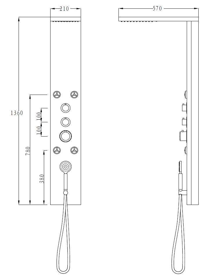 LED Designer Duschpaneel LUXO-LP087