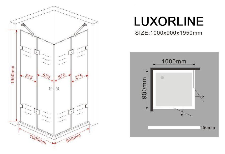 rahmenlose duschkabine luxorline 100 x 90 x 195 cm ohne duschtasse glasdeals. Black Bedroom Furniture Sets. Home Design Ideas