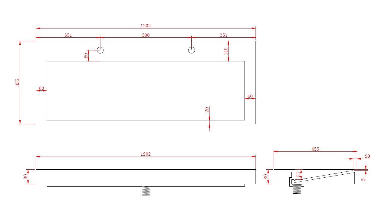 Mineralguss-Aufsatzwaschtisch MAW2339 (120cm)