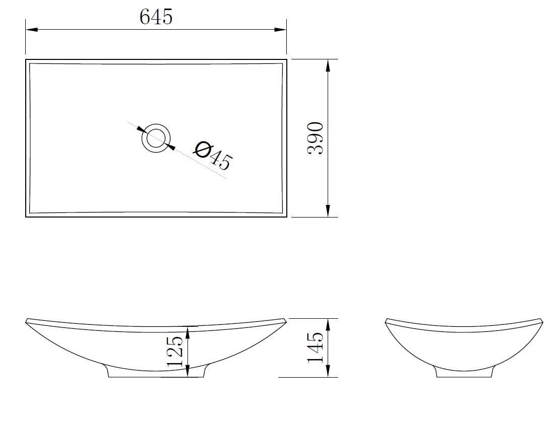 Mineralguss-Aufsatzwaschtisch MAW2302 (64.5 cm)