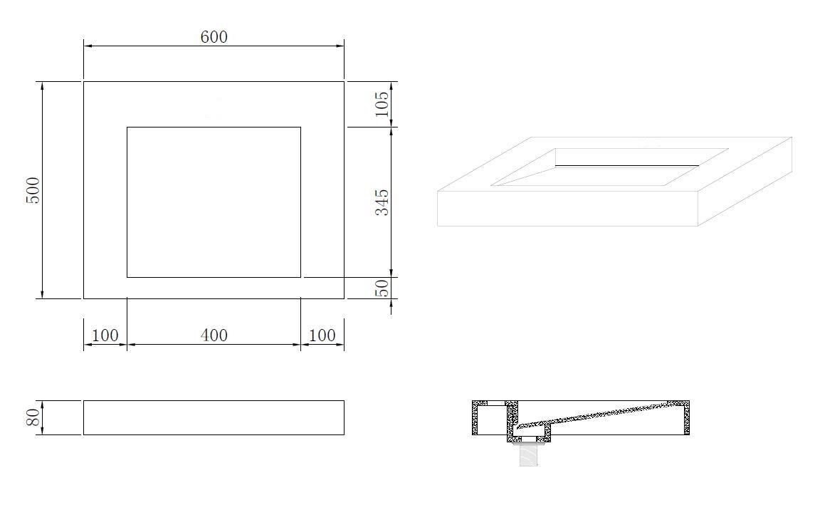 Mineralguss-Aufsatzwaschtisch MAW2312 (60 cm)