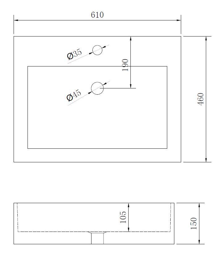 Mineralguss - Aufsatzwaschtisch MAW2320