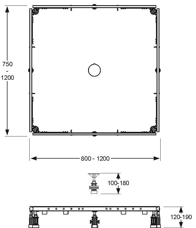 Montagerahmen Rechteck 80 bis 120