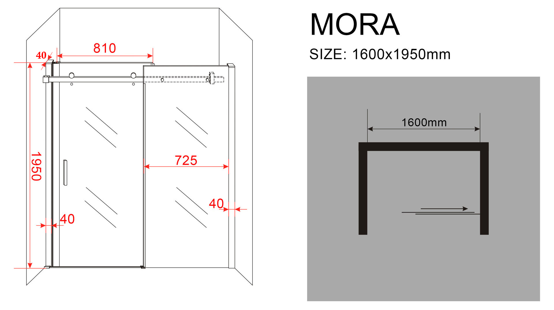 8 mm Nischen- / Schiebetür MORA-XL 160 x 195 cm