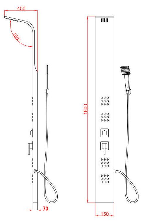 Edelstahl Duschpaneel NERO (schwarz)
