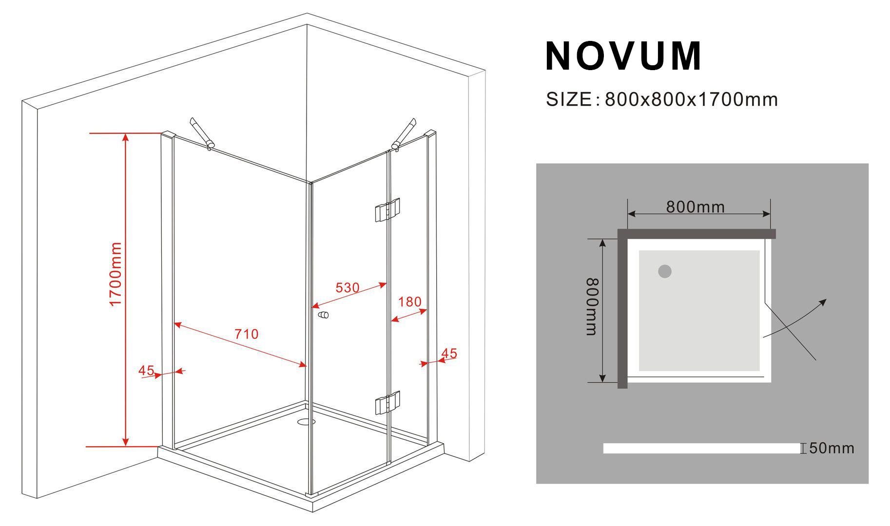 duschkabine novum 80 x 80 x 170 cm glasdeals. Black Bedroom Furniture Sets. Home Design Ideas