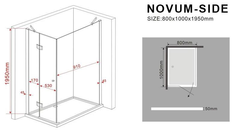 Duschkabine NOVUM-SIDE 100 x 80 x 200 cm inkl. Duschtasse