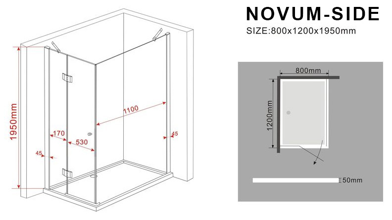 duschkabine novum side 120 x 80 x 200 cm inkl duschtasse glasdeals. Black Bedroom Furniture Sets. Home Design Ideas