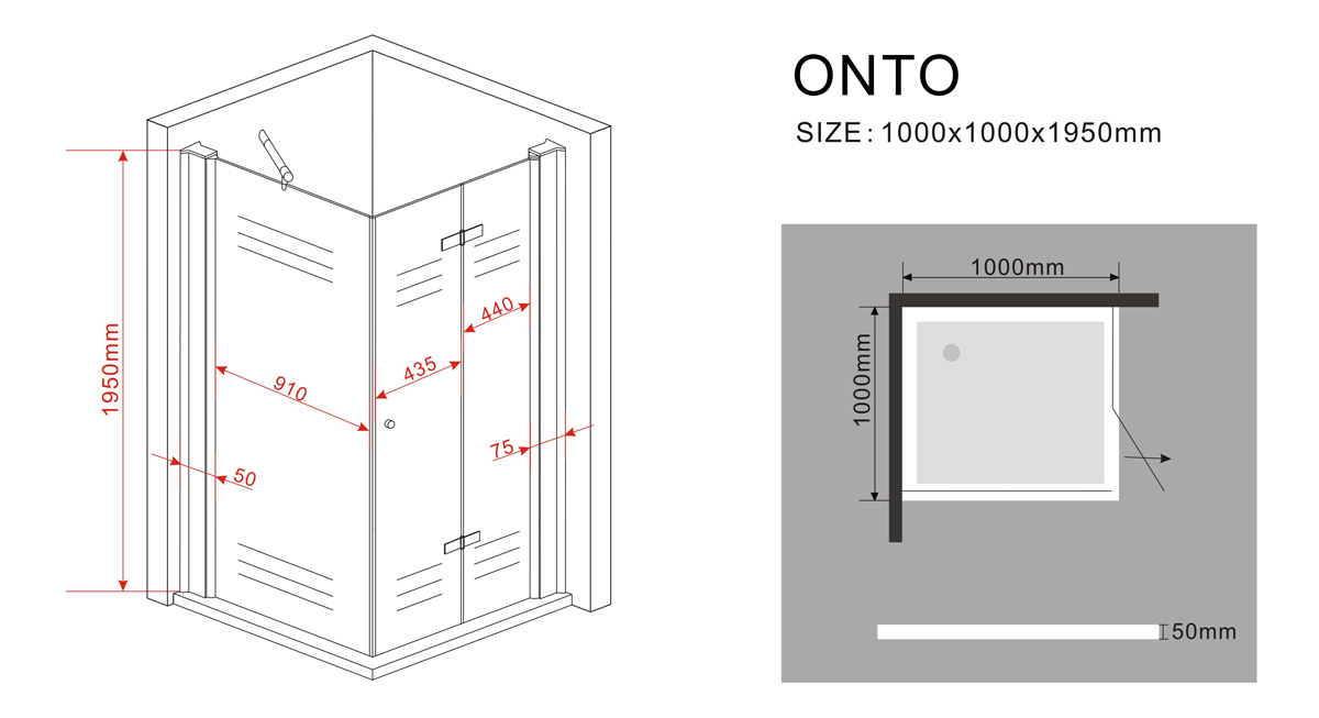Falttür Duschkabine ONTO 100 x 100 x 200 cm inkl. Duschtasse