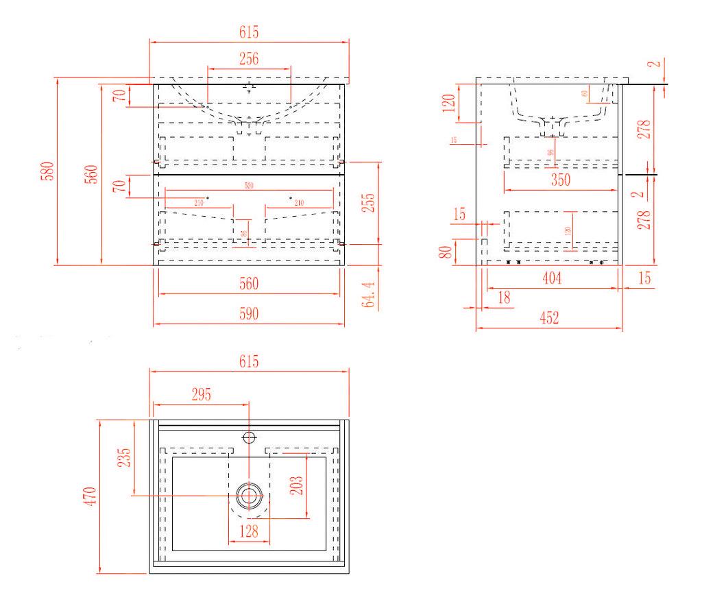 Badmöbel Unterschrank OPORTO 60 (schwarz)