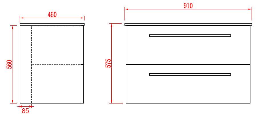 Badmöbel Unterschrank OPORTO 90 (schwarz)