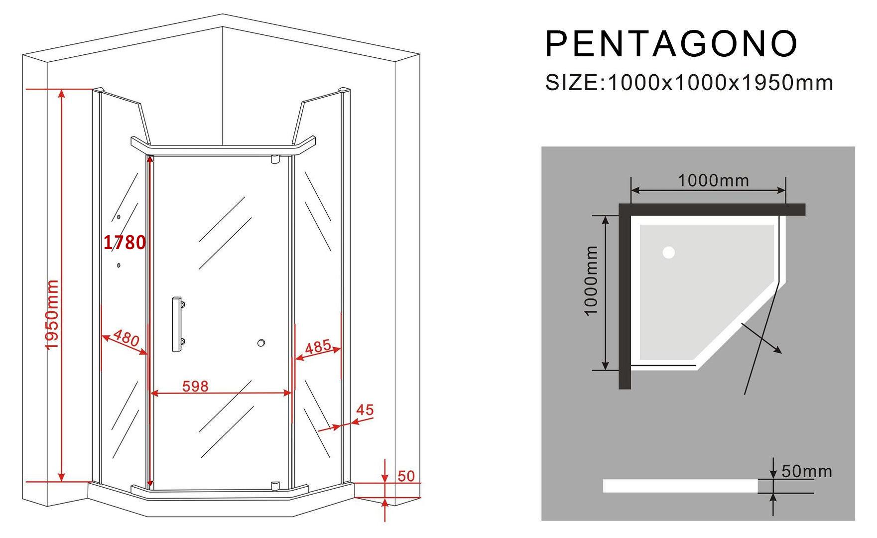 f nfeck duschkabine pentagono 100 x 100 x 195 cm ohne duschtasse glasdeals. Black Bedroom Furniture Sets. Home Design Ideas