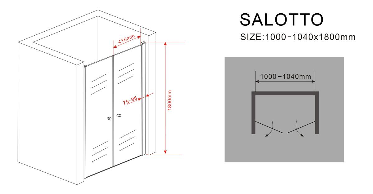 6 mm Nischentür SALOTTO 100 x 180 cm