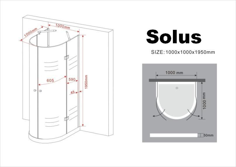 U-Duschkabine SOLUS 100 x 100 x 195 cm