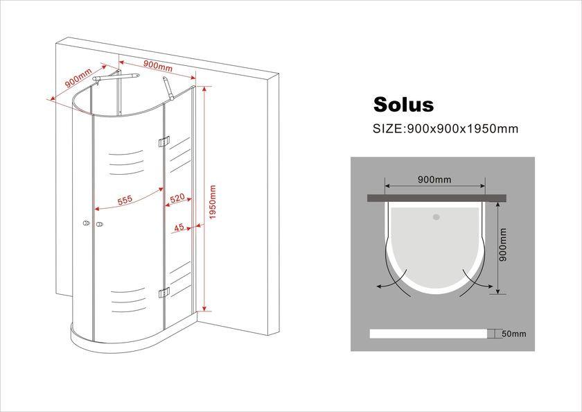 U-Duschkabine SOLUS 90 x 90 x 195 cm