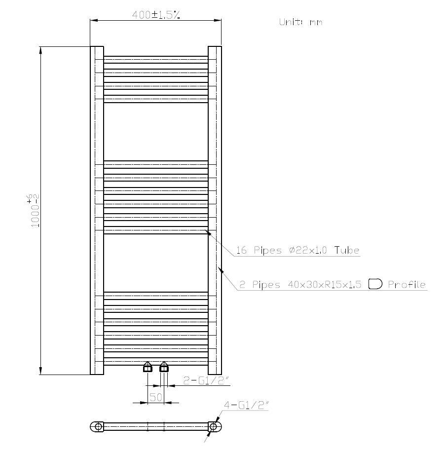 Badheizkörper STRAIGHT-M in 100 x 40 cm (Mittelanschluss ...