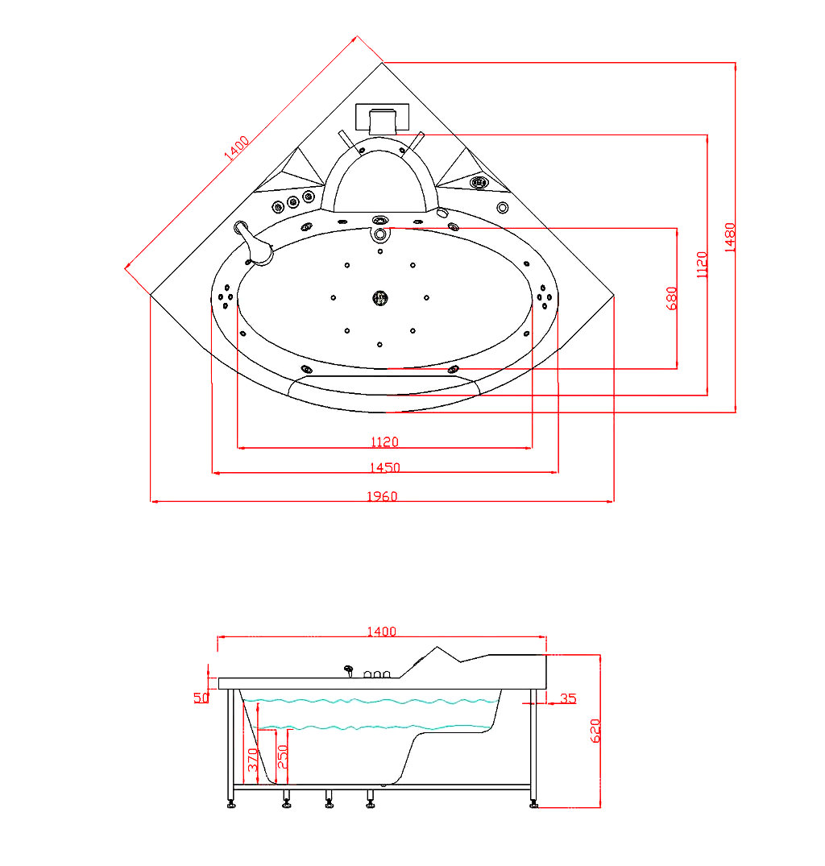 whirlpool badewanne stream 140 x 140 cm glasdeals. Black Bedroom Furniture Sets. Home Design Ideas