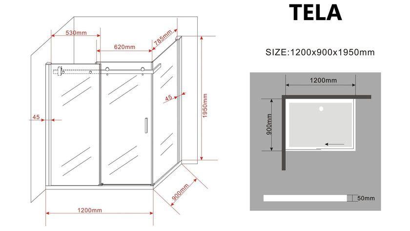 Duschkabine TELA 120 x 90 x 195 cm