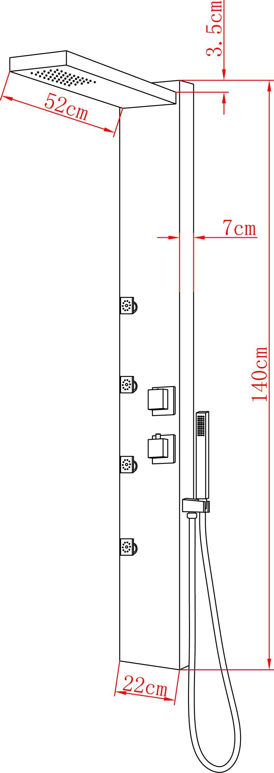 Duschpaneel UGELLO (schwarz)