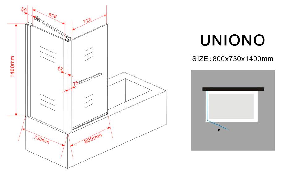 eck duschtrennwand uniono 75 badewanne glasdeals. Black Bedroom Furniture Sets. Home Design Ideas