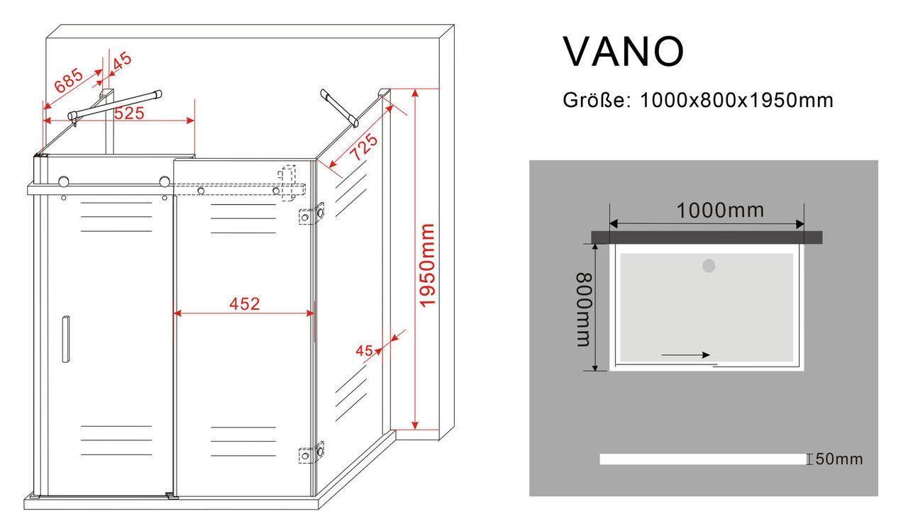 U-Duschkabine VANO 100 x 80 x 200 cm inkl. Duschtasse