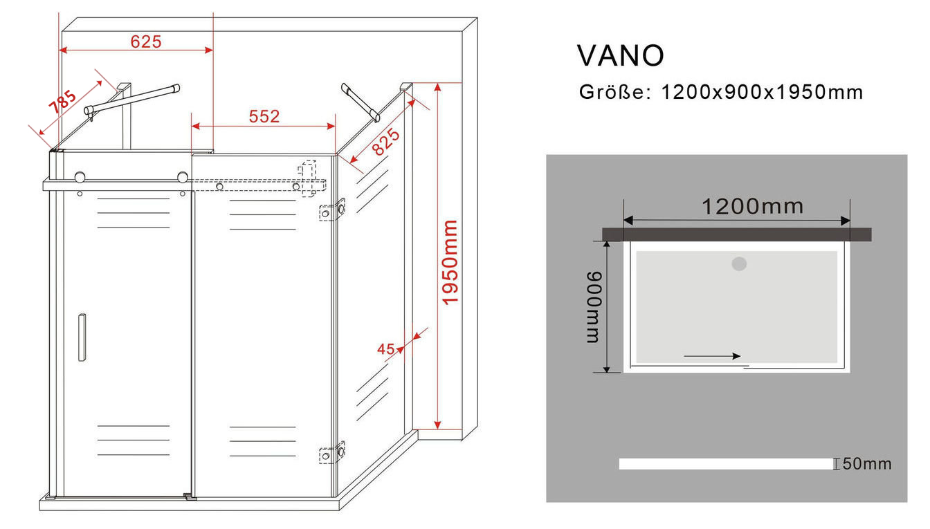 U-Duschkabine VANO 120 x 90 x 195 cm