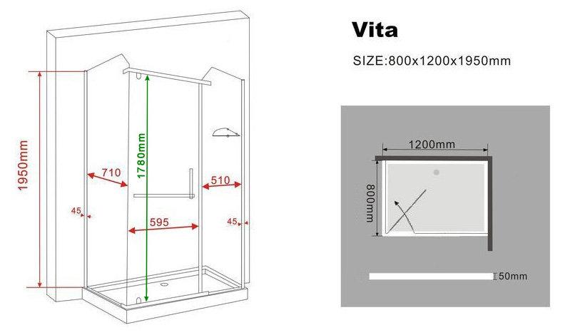 duschkabine vita 120 x 80 x 195 cm ohne duschtasse glasdeals. Black Bedroom Furniture Sets. Home Design Ideas