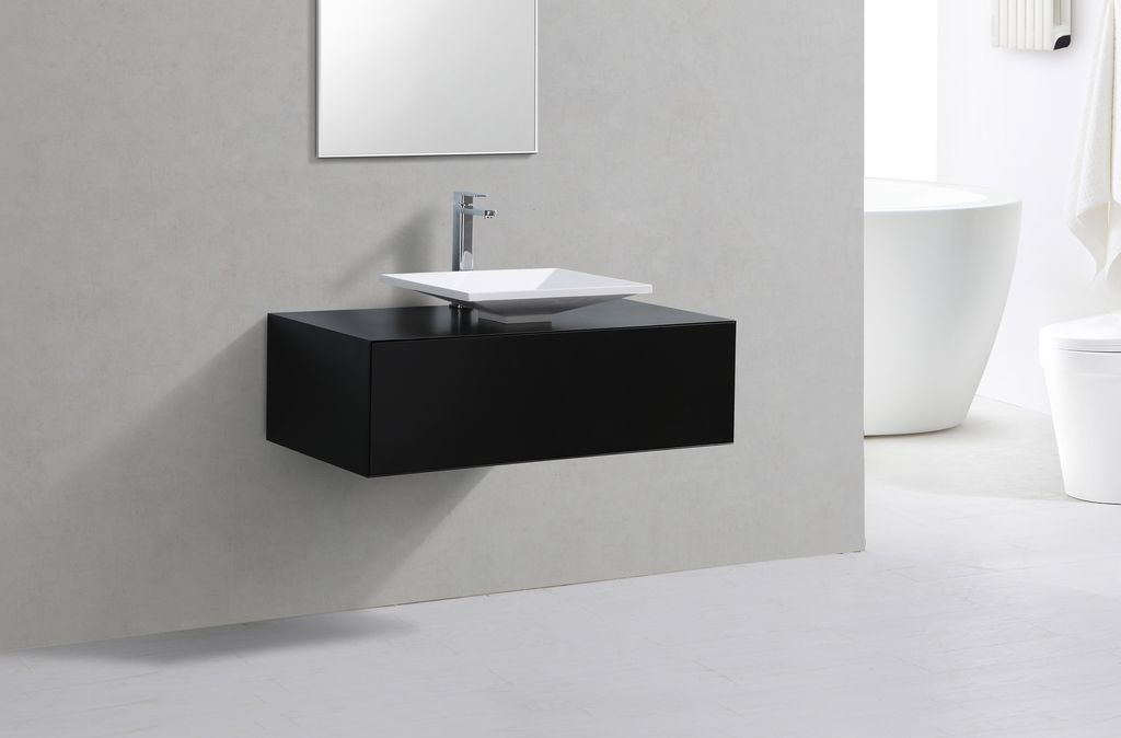 badmobel schwarz, badmöbel unterschrank pomo 100 in schwarz inkl. waschtisch - glasdeals, Design ideen