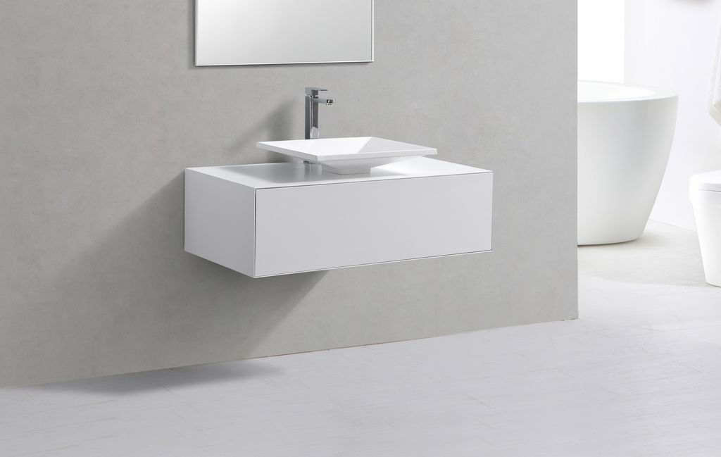 Badmöbel Unterschrank POMO 100 in weiß inkl. Waschtisch