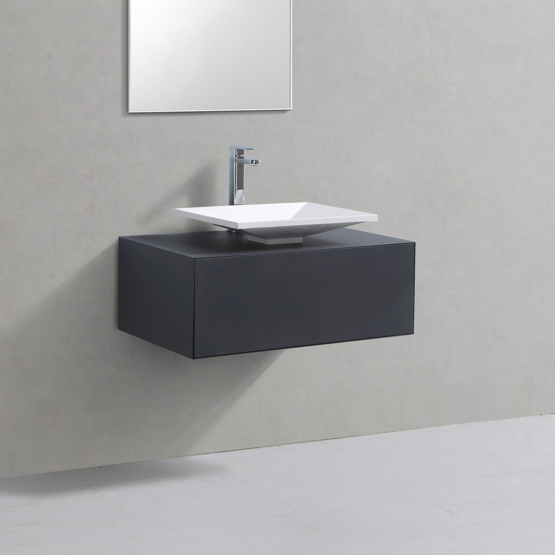 Badmöbel Unterschrank POMO 80 in grau inkl. Waschtisch