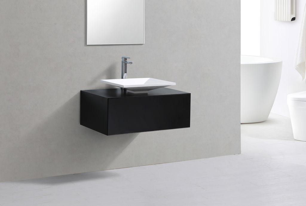 Badmöbel Unterschrank POMO 80 in schwarz inkl. Waschtisch