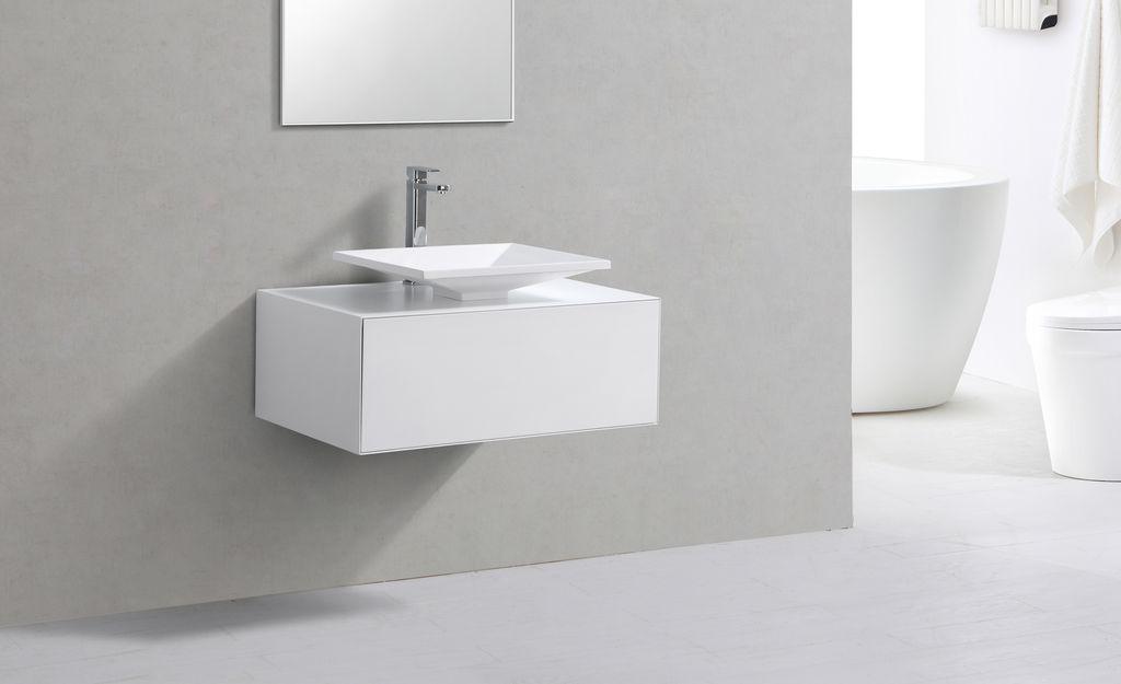 Badmöbel Unterschrank POMO 80 in weiß inkl. Waschtisch