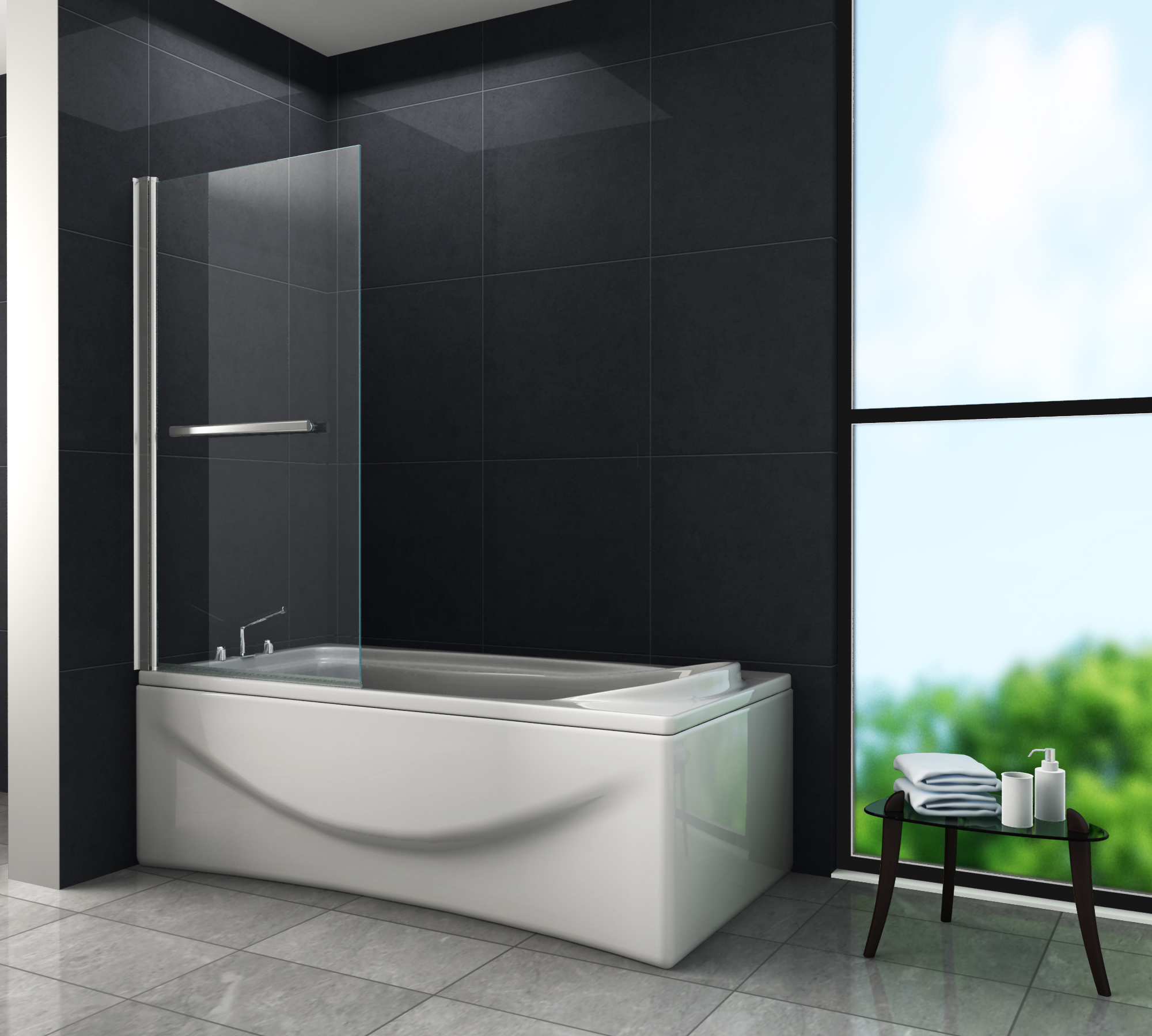 duschtrennwand quodo 80 x 140 badewanne glasdeals. Black Bedroom Furniture Sets. Home Design Ideas