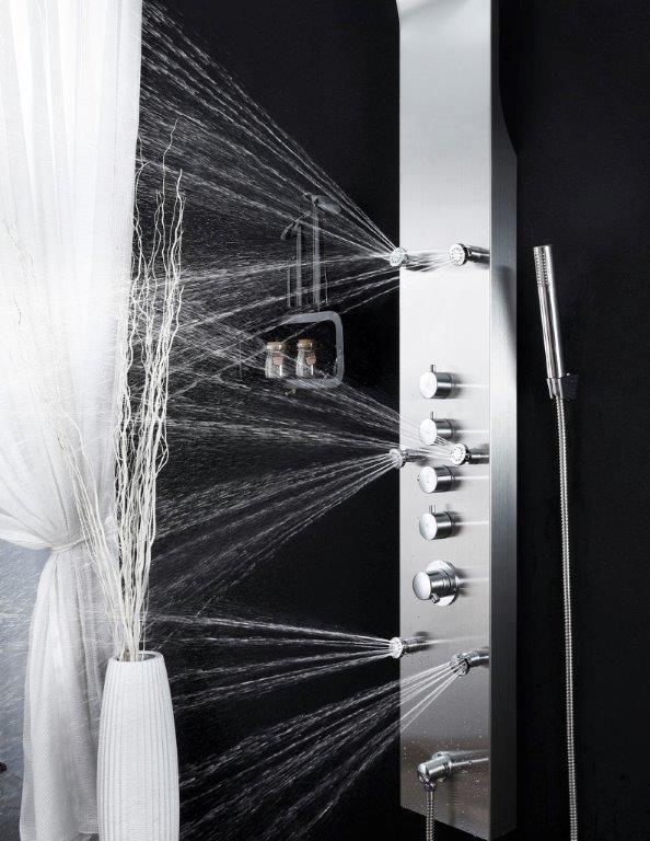edelstahl duschpaneel steelo glasdeals. Black Bedroom Furniture Sets. Home Design Ideas