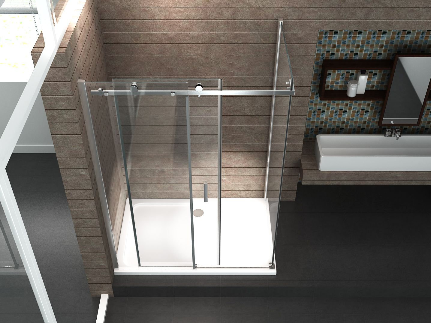duschkabine tela 120 x 80 x 200 cm inkl duschtasse glasdeals. Black Bedroom Furniture Sets. Home Design Ideas