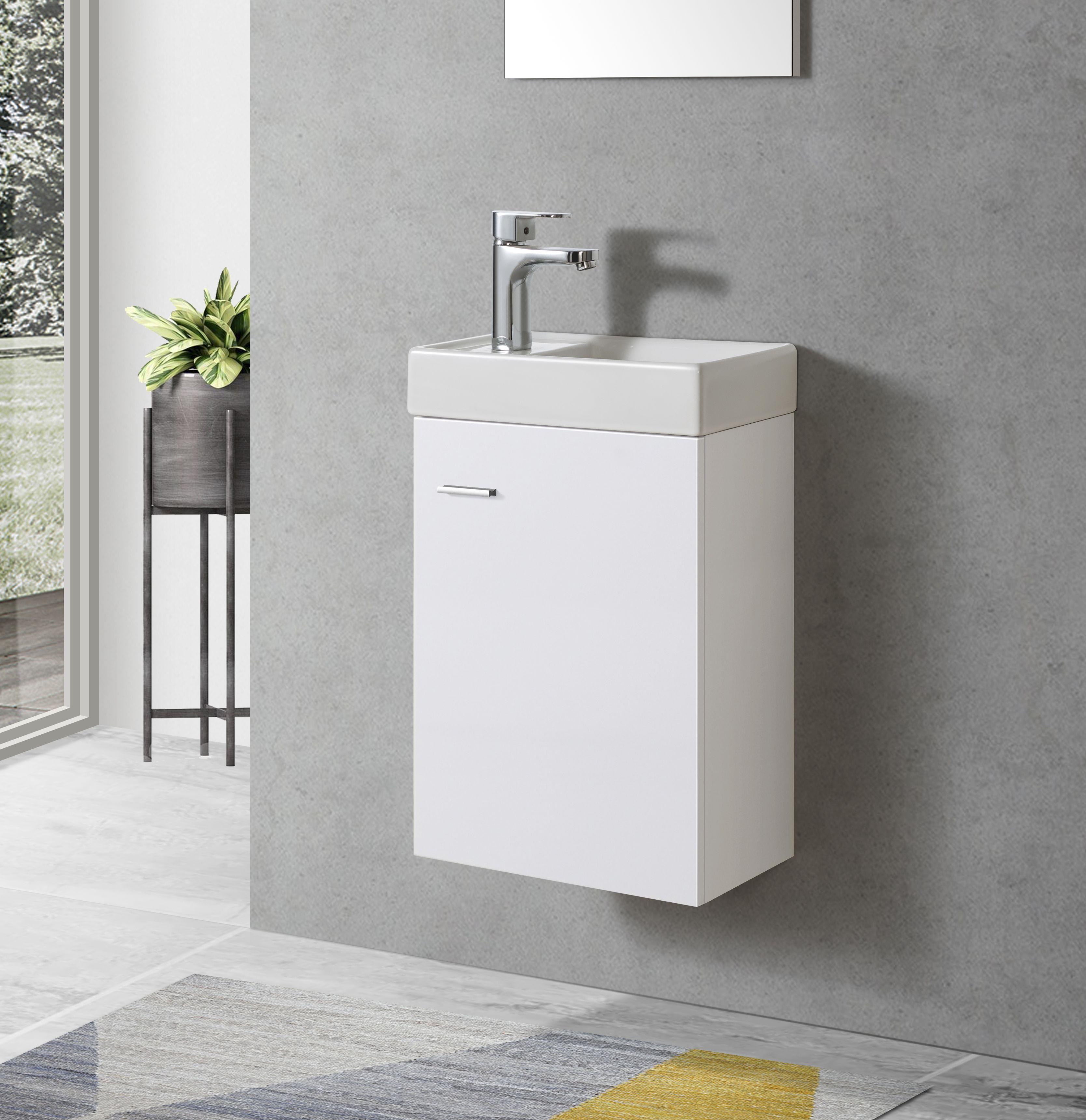 Badmöbel Unterschrank VISITO 40 in weiß inkl. Waschtisch