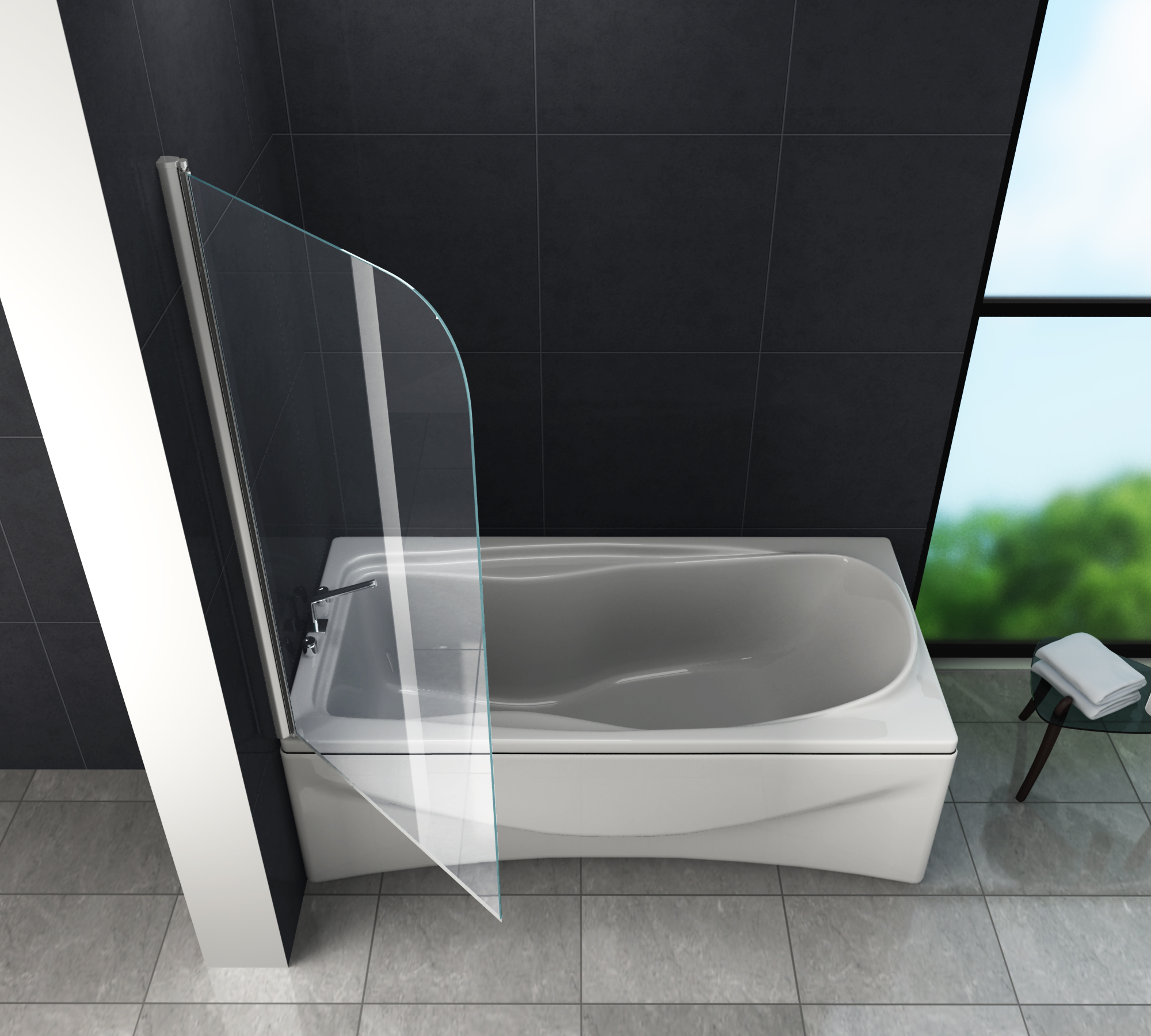 Duschtrennwand wellness 80 x 140 badewanne glasdeals - Badewanne duschtrennwand ...